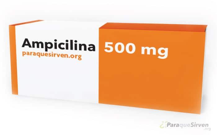 Ampicilina de 500mg en caja